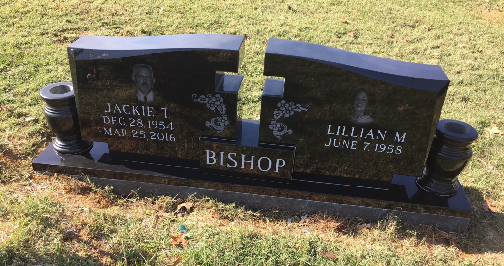 Front of Jackie and Lillian Bishop headstone