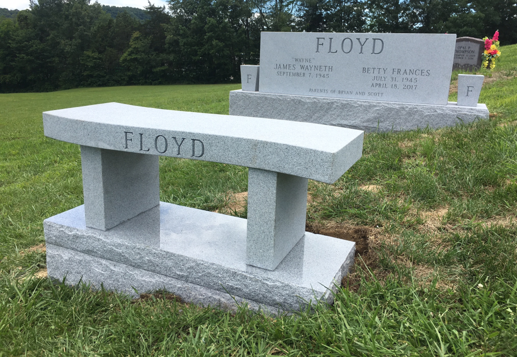 Headstone and bench for Wayne and Betty Floyd