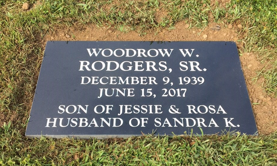 Flat granite marker for Woodrow Rodgers, Sr.
