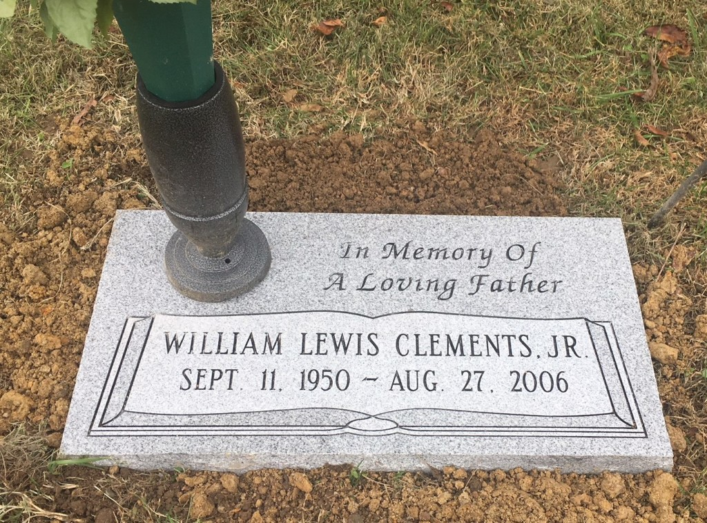 Flat granite marker for William Lewis Clements, Jr