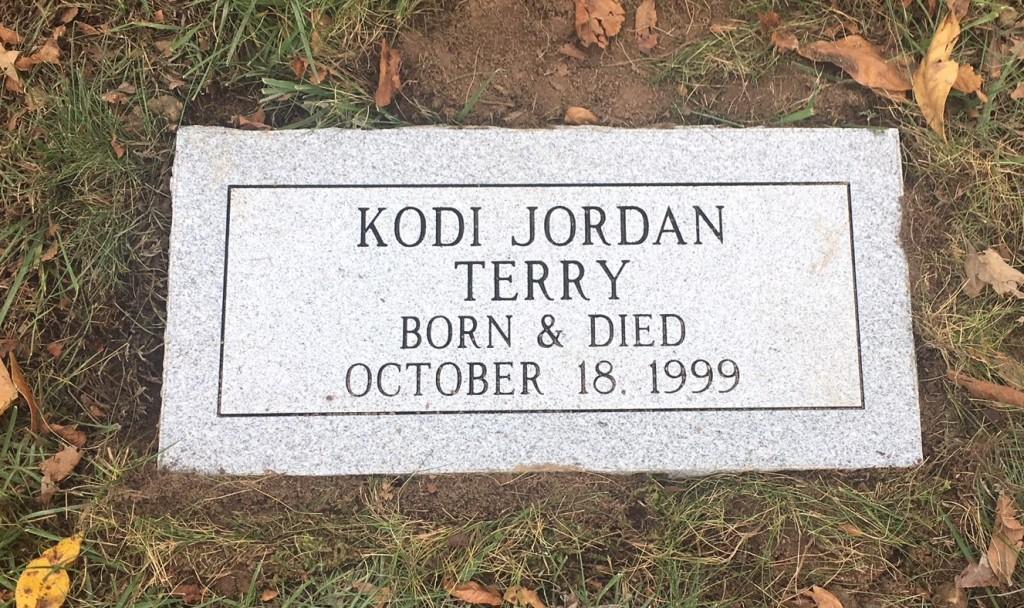 Flat granite marker for Kodi Jordan Terry