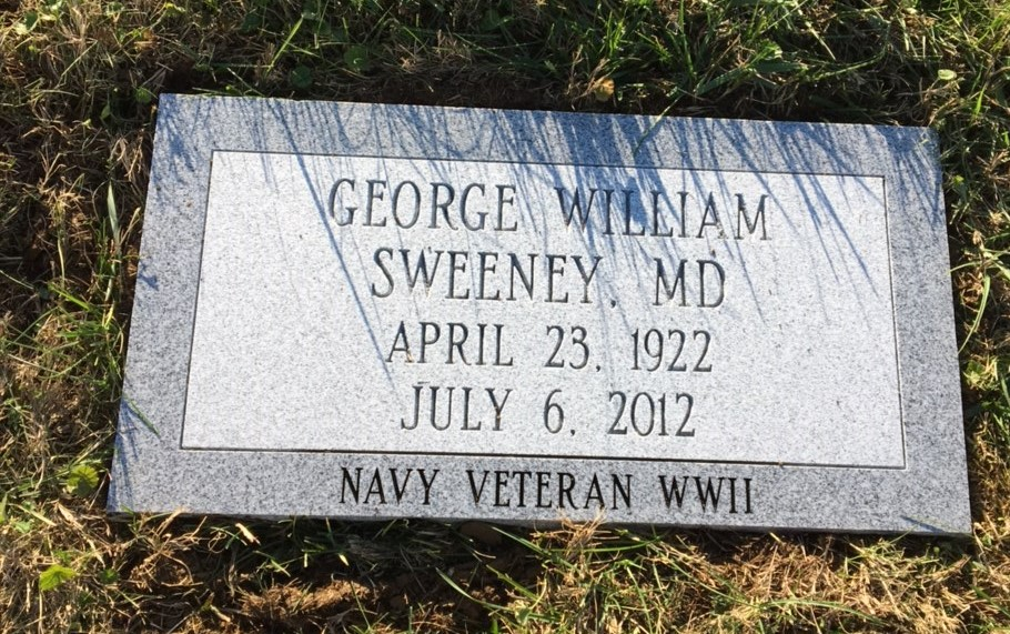 Flat granite marker for George William Sweeney, MD