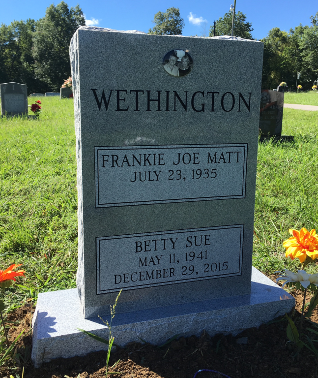 Frank and Betty Wethington headstone