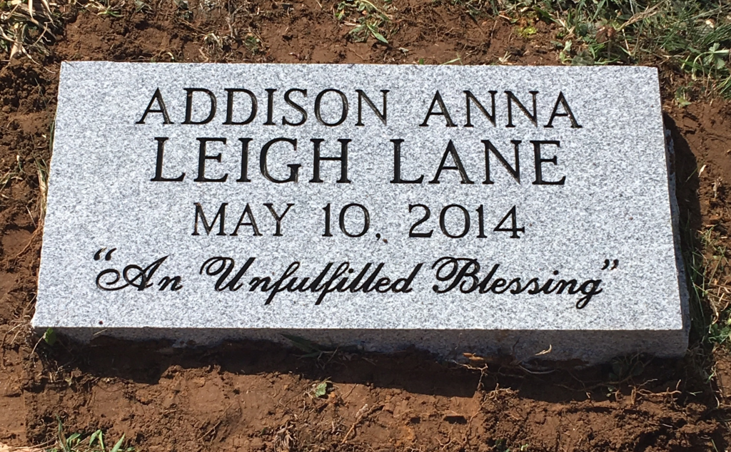 Flat granite marker for Addison Anna Leigh Lane