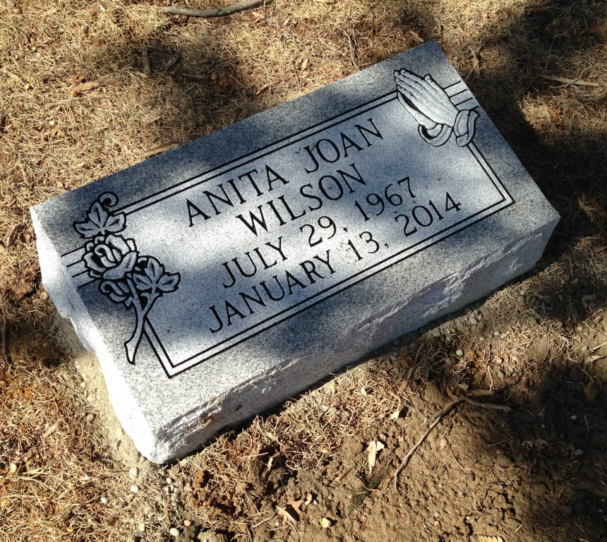 Bevel marker for Anita Joan Wilson
