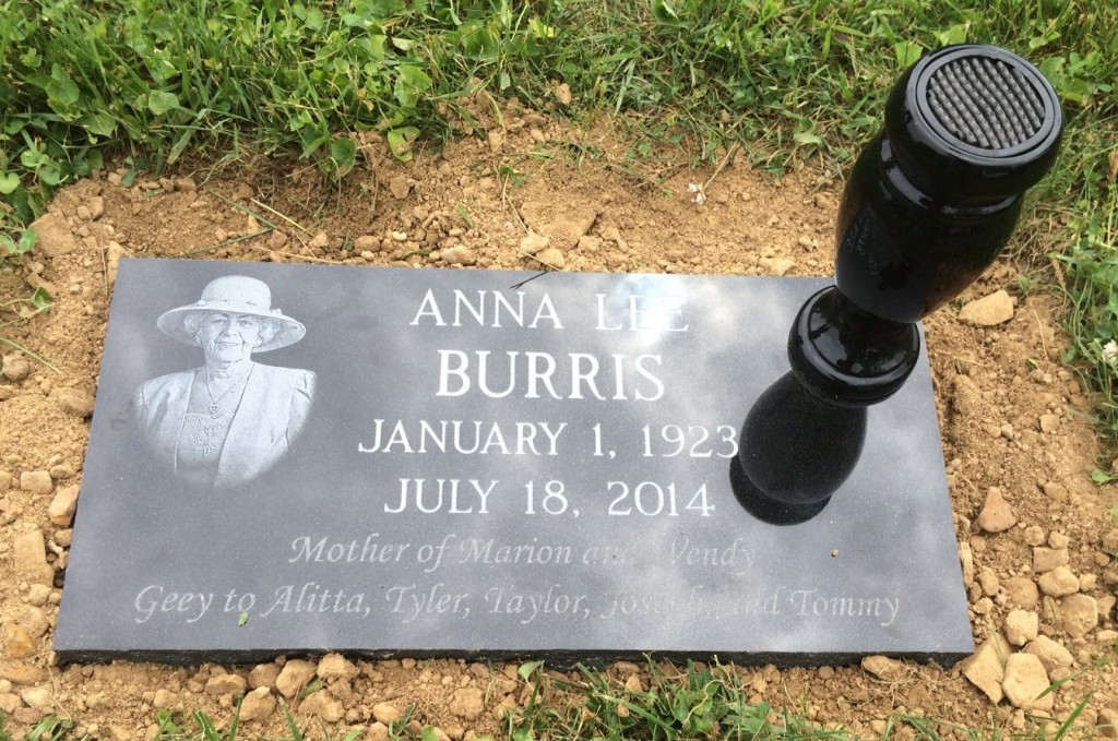 Flat granite marker for Anna Lee Burris