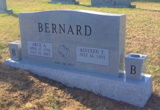 Headstone for Arvis and Alvleen Bernard