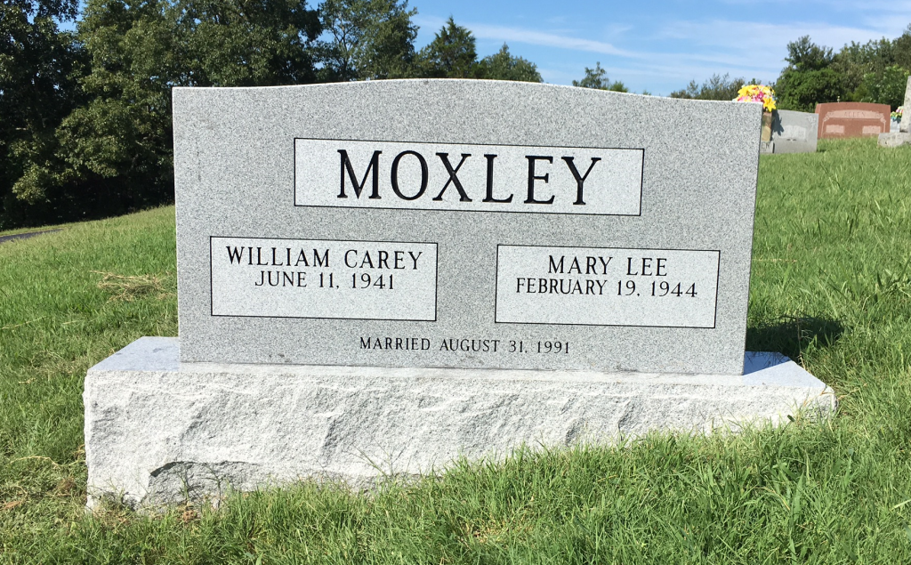 Headstone for Bill and Mary Moxley