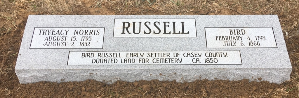 Double bevel marker for Mr. and Mrs. Birdie Russell