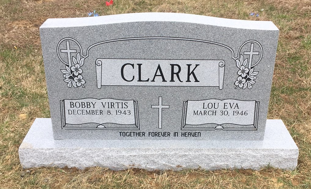 Headstone for Bobby and Lou Eva Clark