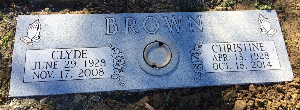 Double flat marker for Clyde and Christine Brown
