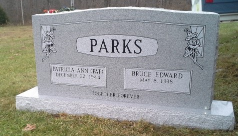 Headstone for Bruce and Pat Parks