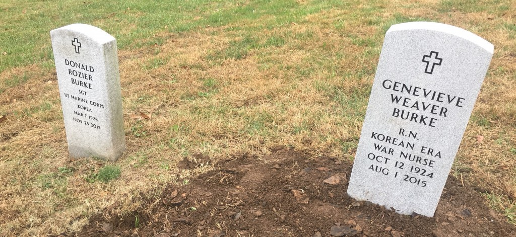 Matching Veteran's Upright Markers for Mr. and Mrs. Burke