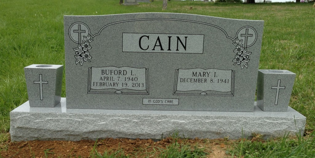 Headstone for Buford and Mary Cain