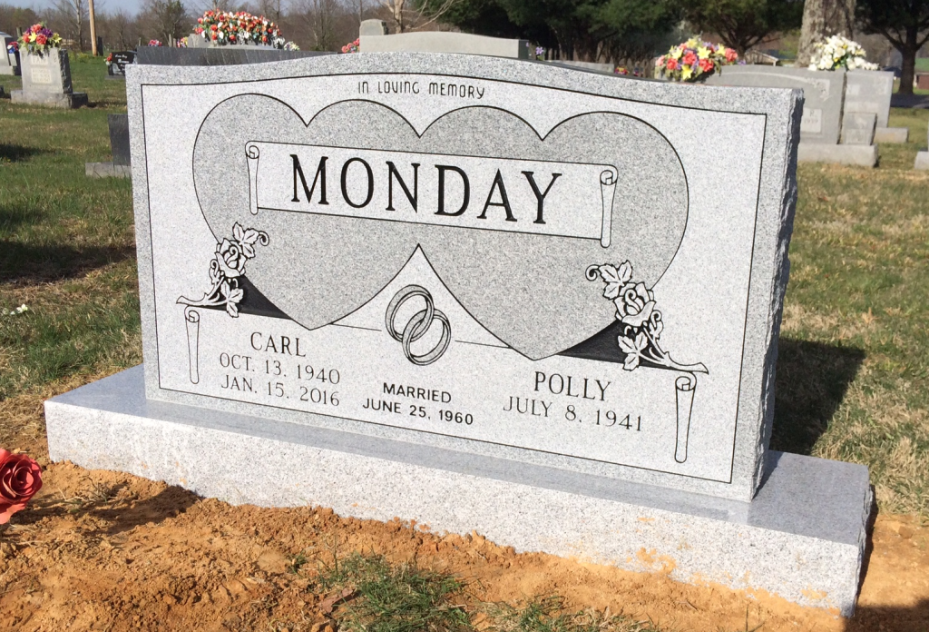 Headstone for Carl and Polly Monday