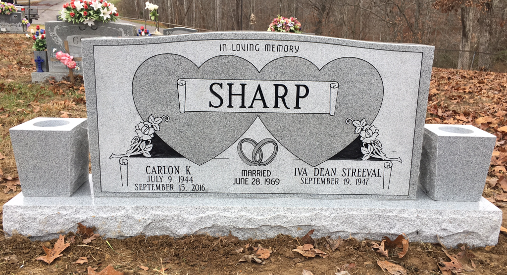 Headstone for Carlon K. and Iva Dean Sharp