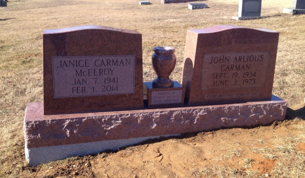 Headstone for John Carman and Janice McElroy