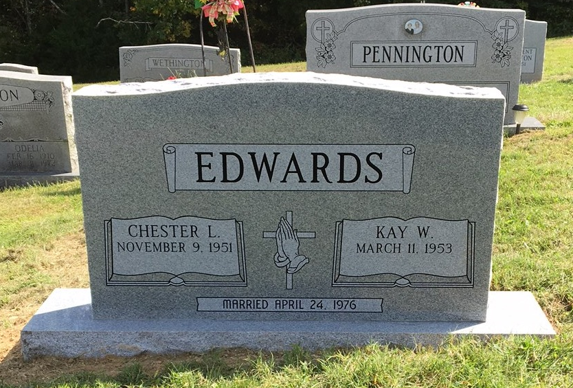 Headstone for Chester and Kay Edwards