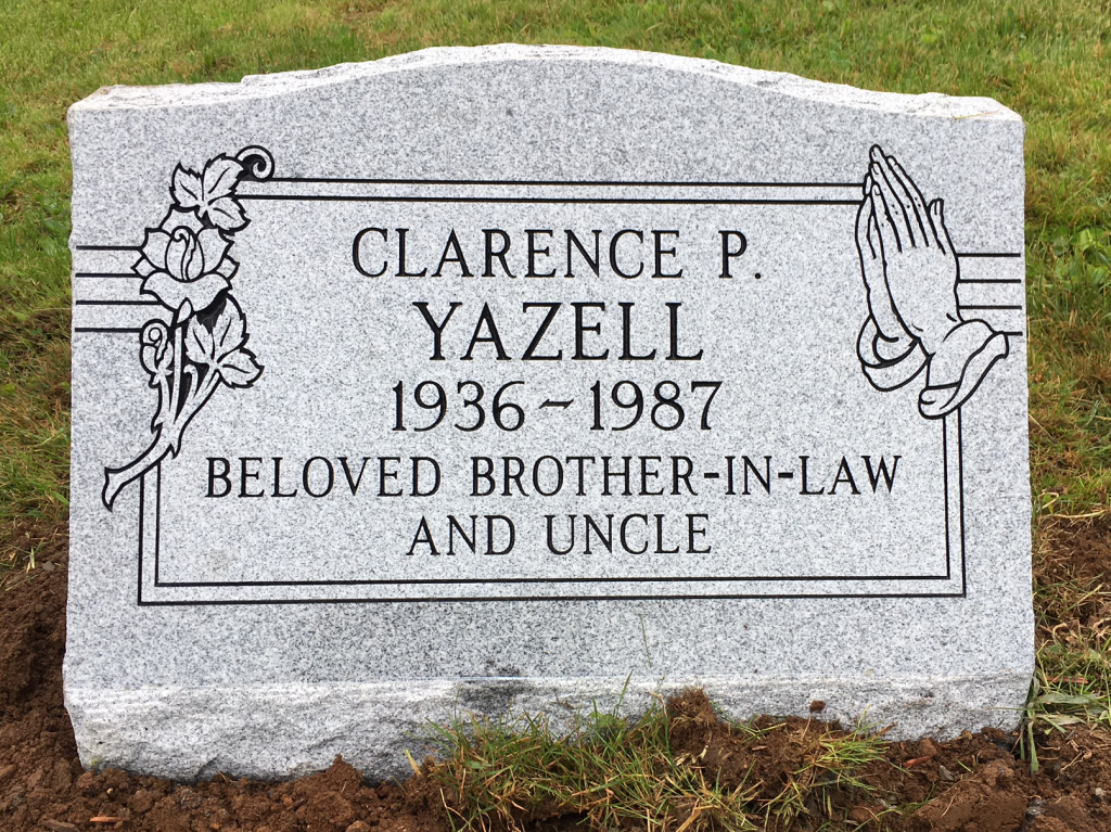 Granite slant marker for Clarence Yazell