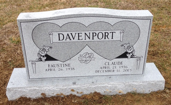 Headstone for Claude and Faustine Davenport