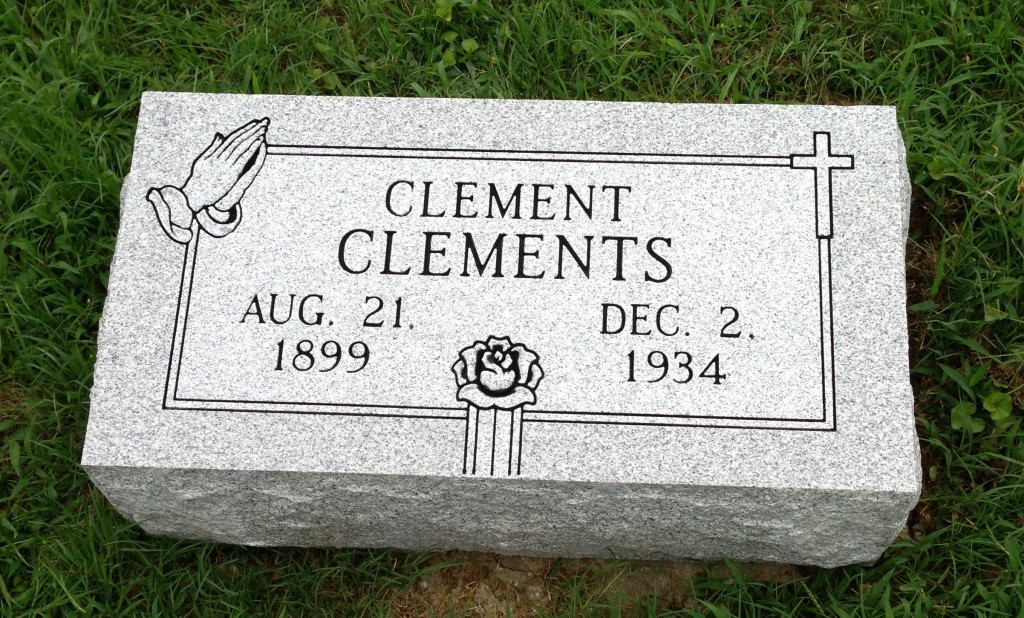 Bevel granite marker for Clement Clements