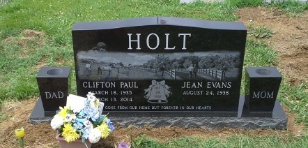 Headstone for Clifton and Jean Holt
