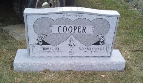 Headstone for Thomas and Elizabeth Cooper