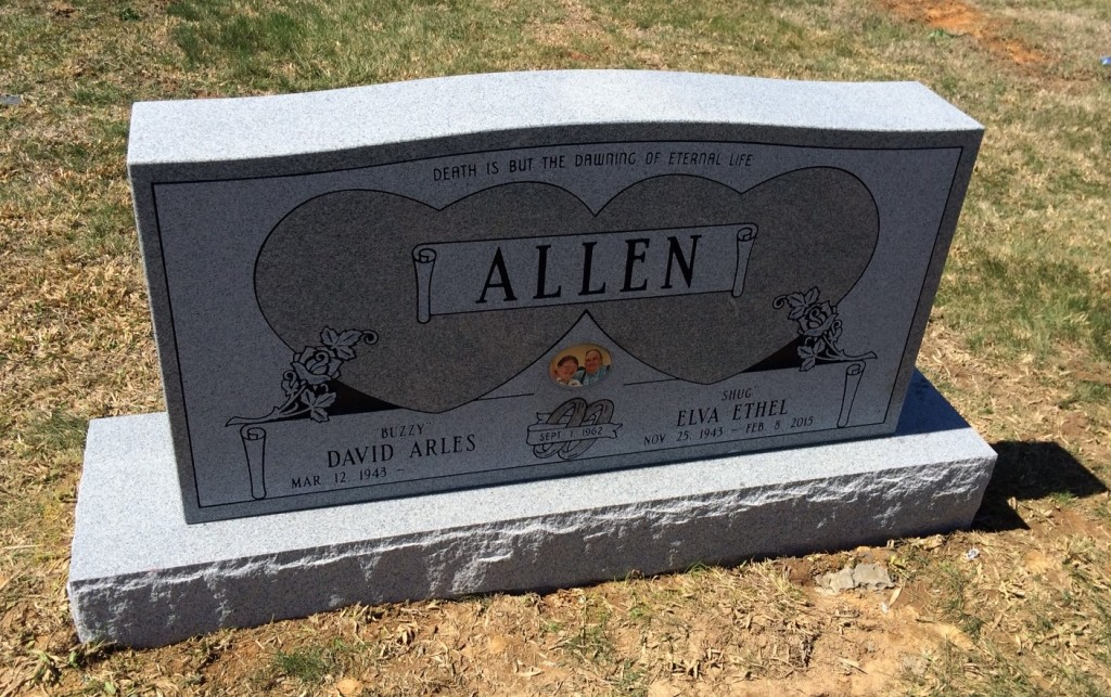 Headstone for David and Elva Allen