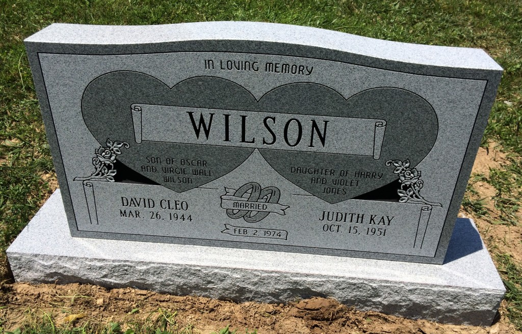 Headstone for David Cleo and Judith Kay Wilson