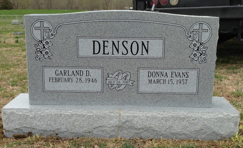 Headstone for Garland and Donna Denson