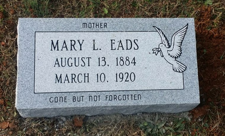 Granite bevel marker for Mary Eads