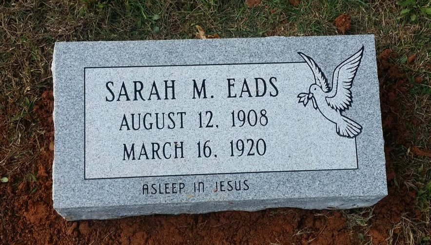 Granite bevel marker for Sarah Eads