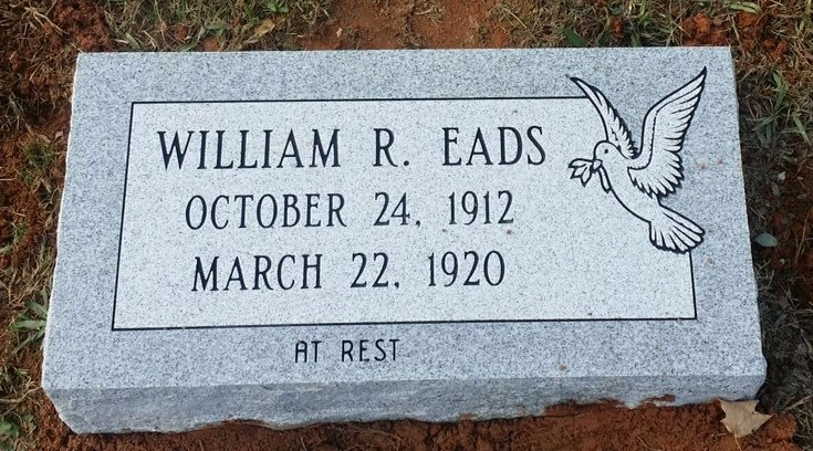 Granite bevel marker for William Eads