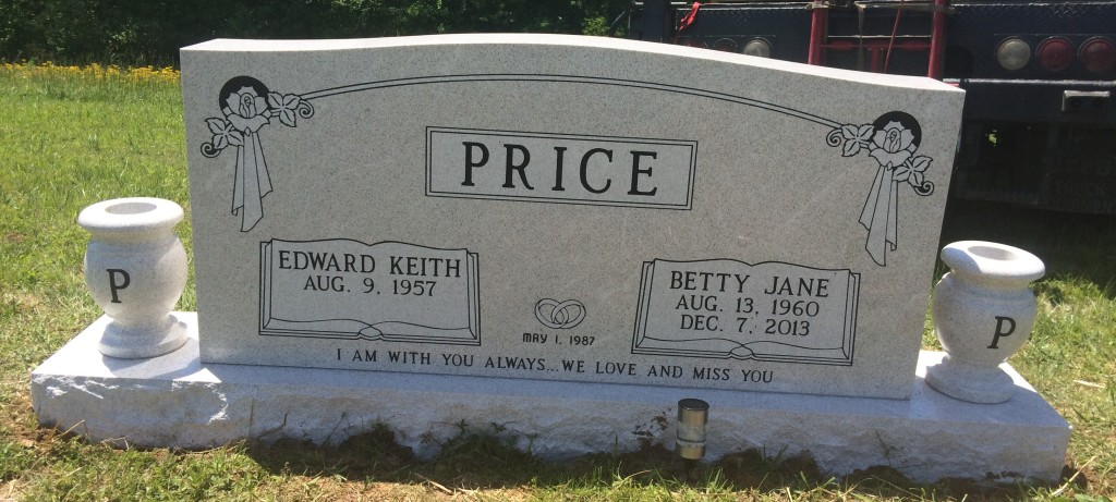 Headstone for Eddie and Betty Price