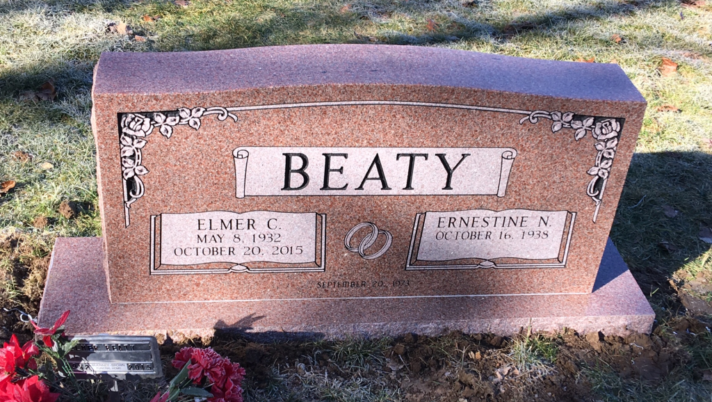 Headstone for Elmer and Ernestine Beaty