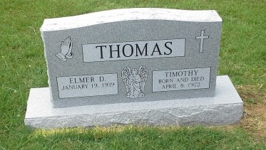 Headstone for Elmer and Timothy Thomas