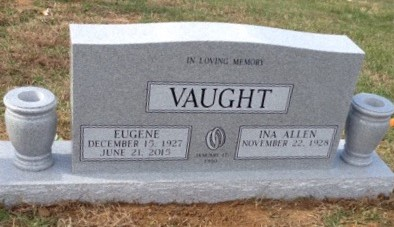 Headstone for Eugene and Ina Vaught