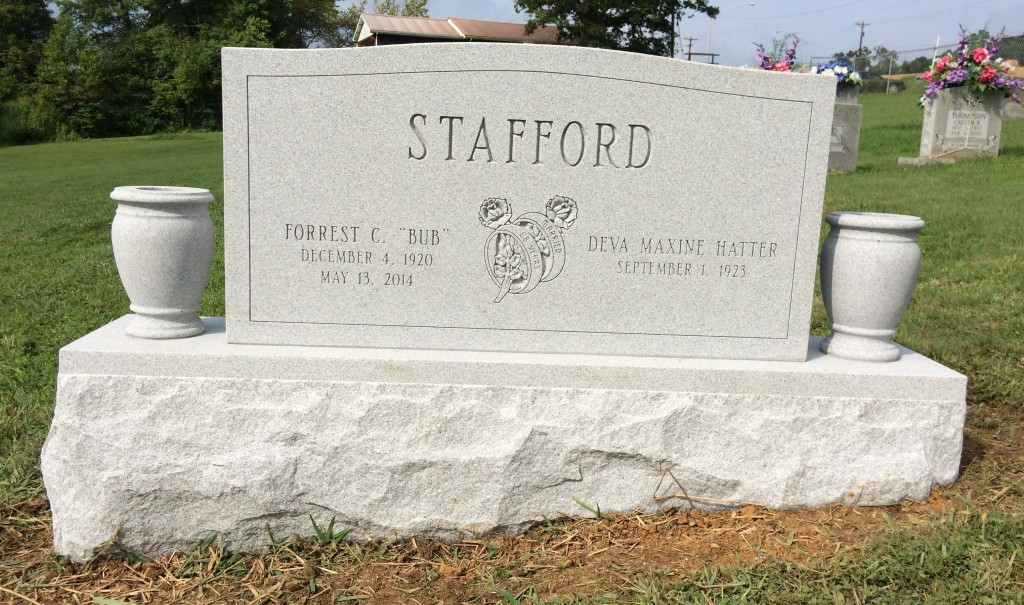 Headstone for Bub and Maxine Stafford