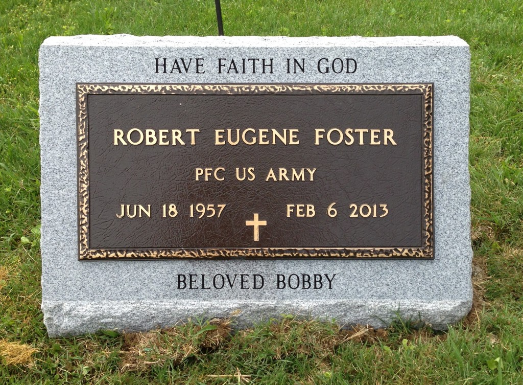 Slant marker with Veteran's bronze for Robert Eugene Foster