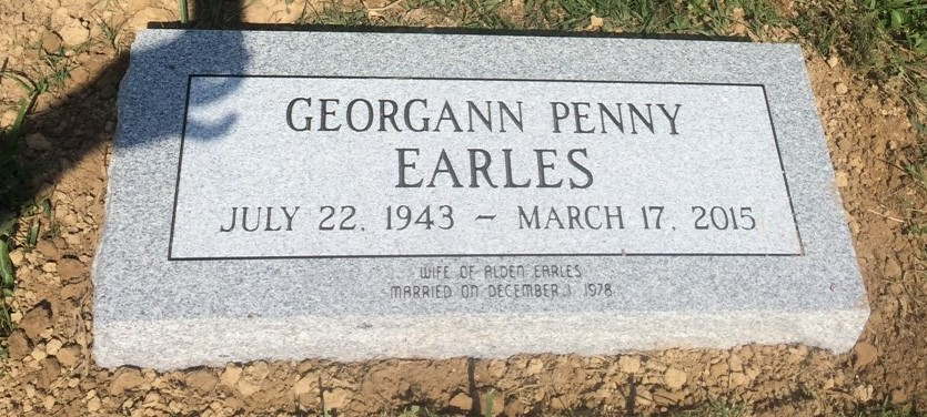 Granite bevel marker for Georgann Earles