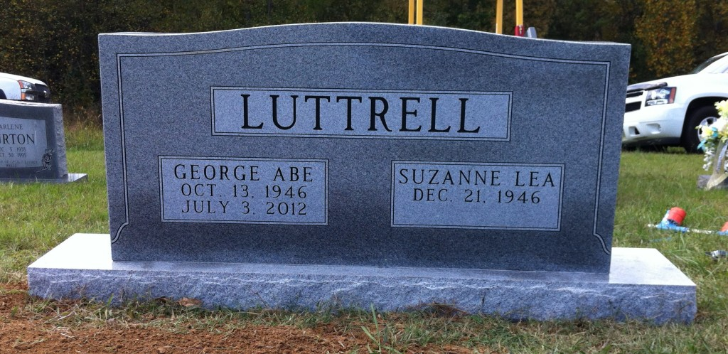 Headstone for George Abe and Suzanne Lea Luttrell