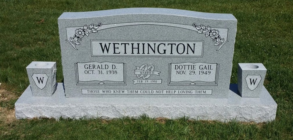 Headstone for Gerald and Dottie Gail Wethington