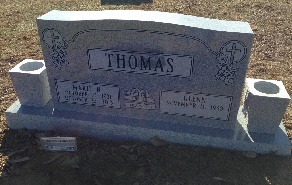 Headstone for Glenn and Marie Thomas