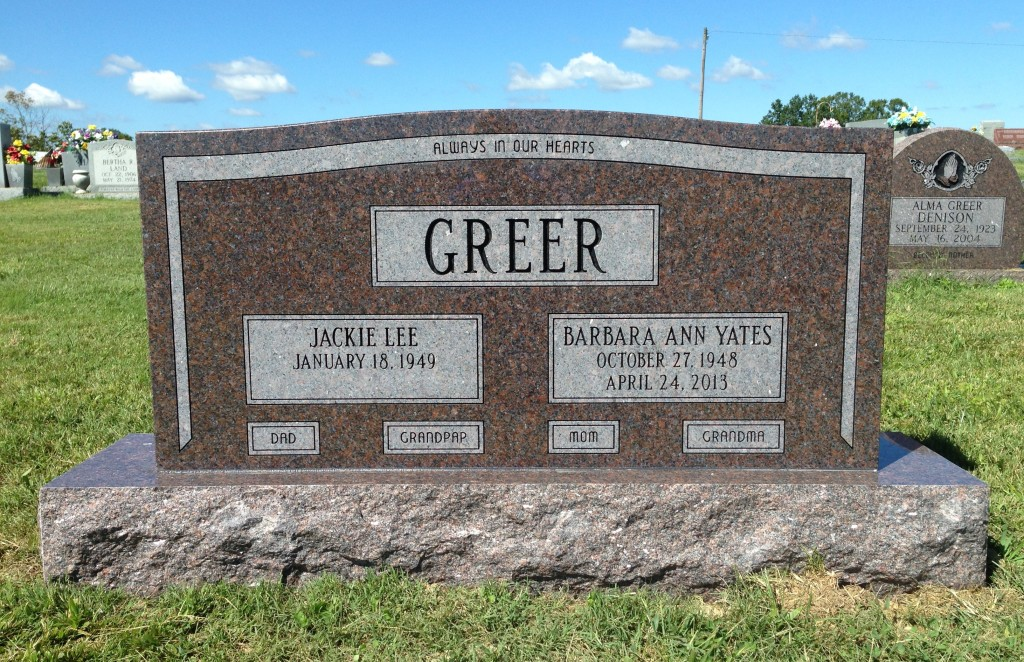 Headstone for Jackie and Barbara Greer
