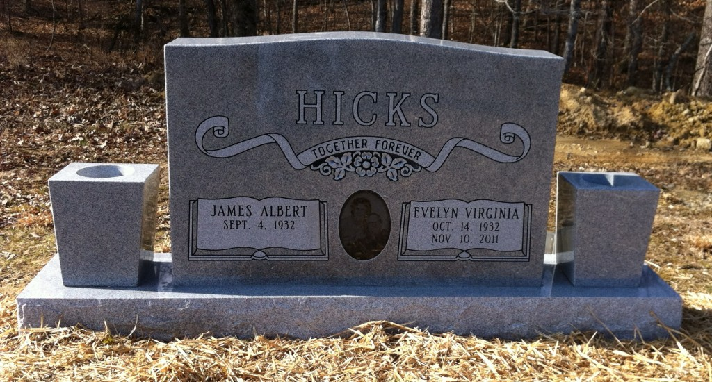 Headstone for James Albert and Evelyn Virginia Hicks