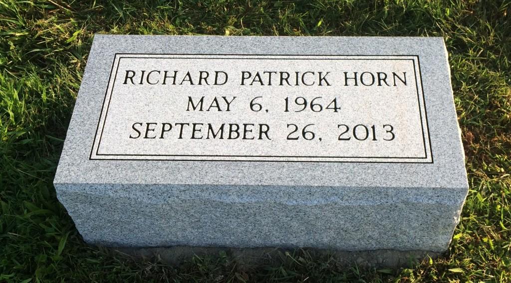 Granite bevel marker for Richard Patrick Horn