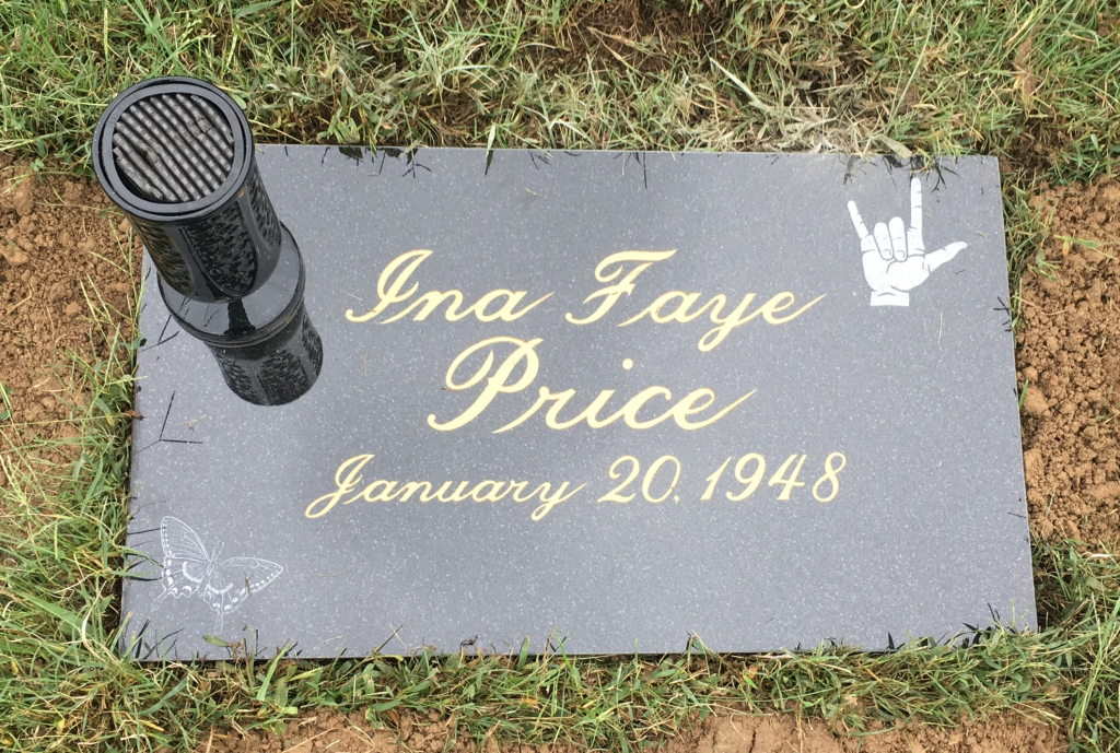 Flat granite marker andvase for Ina Faye Price