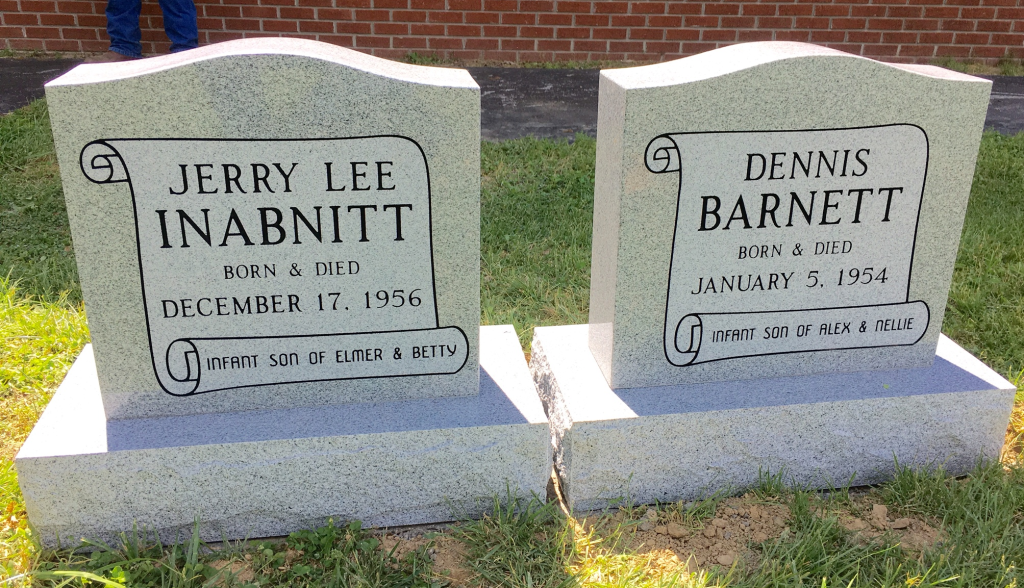 Headstones for Jerry Lee Inabnitt and Dennis Barnett