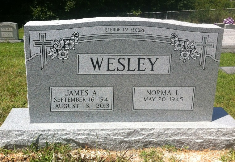 Headstone for James and Norma Wesley