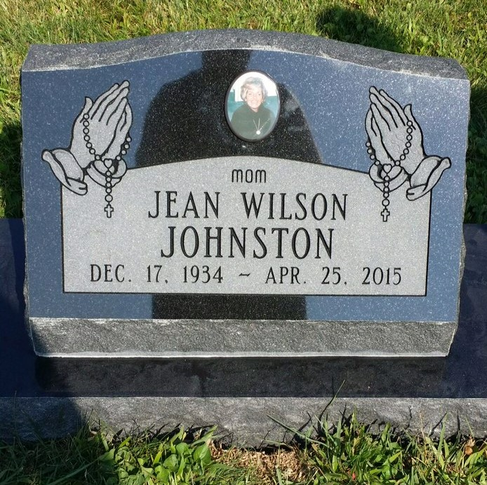Granite slant marker and base for Jean Johnston